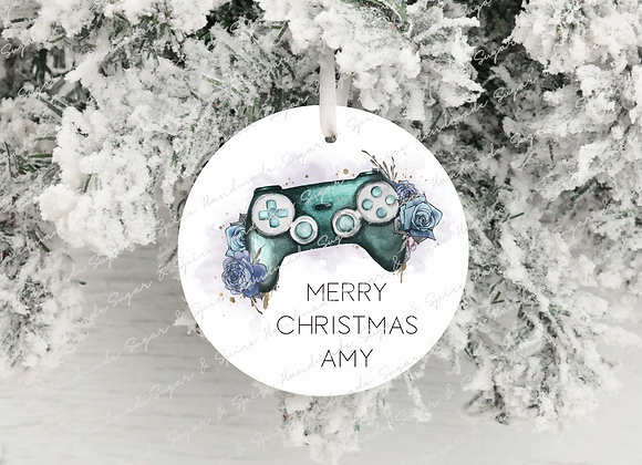 Personalised Turquoise Gaming Legend Christmas Decoration
