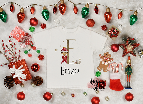 Personalised Boy Elf Christmas T-Shirt
