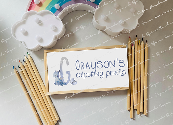 Personalised Wooden Dragon Pencil Box with Coloured Pencils