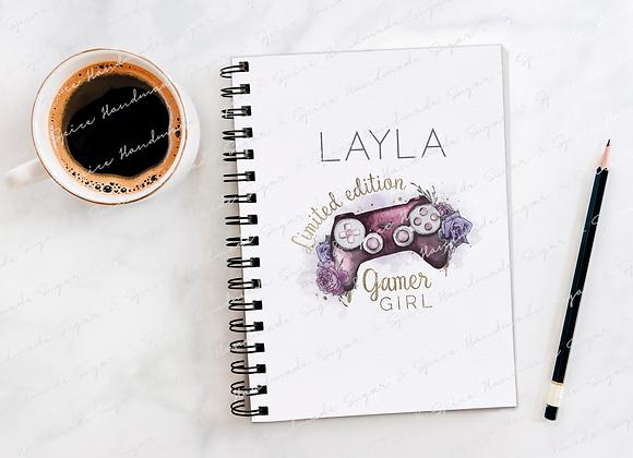 Personalised Gaming Girl Notebook