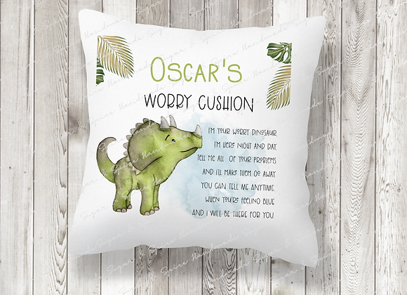 Personalised Green Dinosaur Worry Cushion