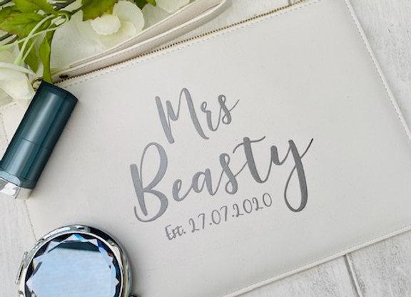Personalised Bride Clutch Bag