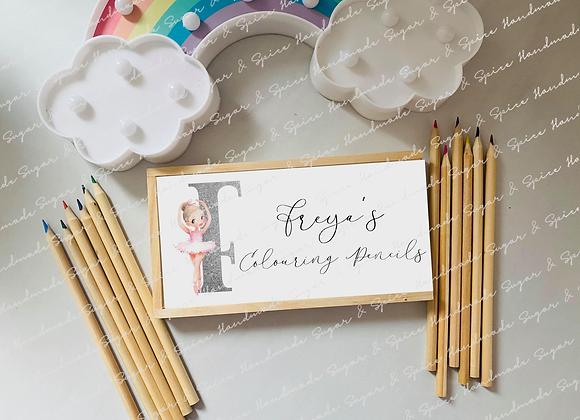 Personalised Wooden Ballerina Pencil Box with Coloured Pencils