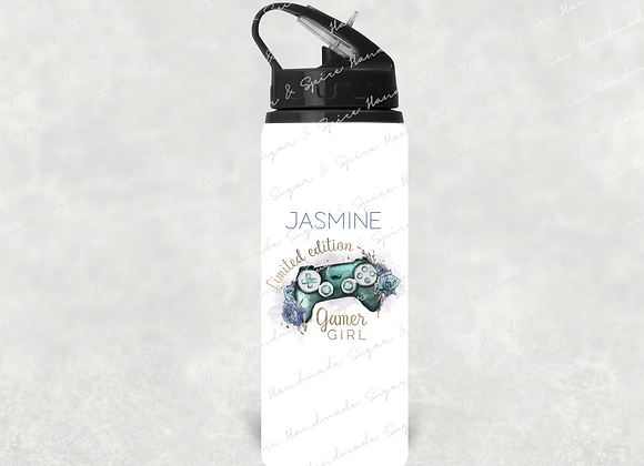 Personalised Girl Gamer Water Bottle