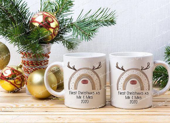 First Christmas as Mr & Mrs Mugs - Reindeer Design