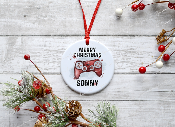 Personalised Gamer Christmas Decoration