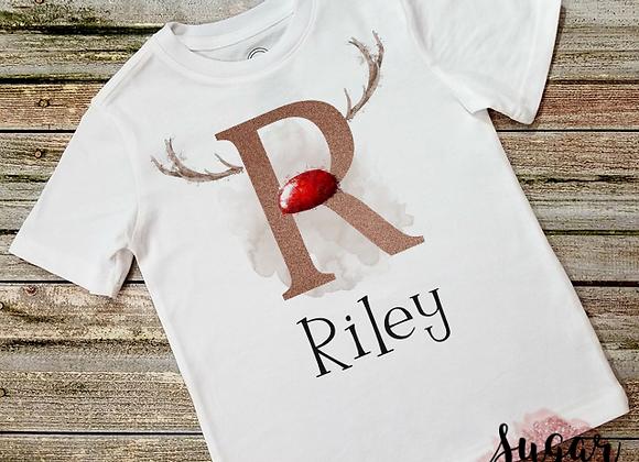 Personalised Reindeer Initial Christmas T-Shirt