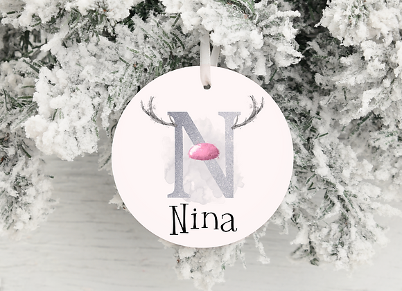 Personalised Reindeer Initial Christmas Decoration