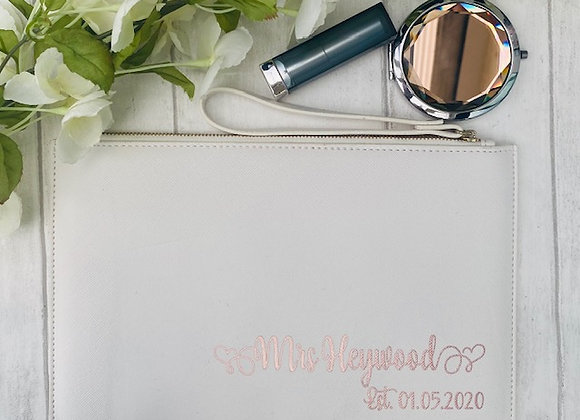 Personalised Bride Clutch Bag - Fancy Text