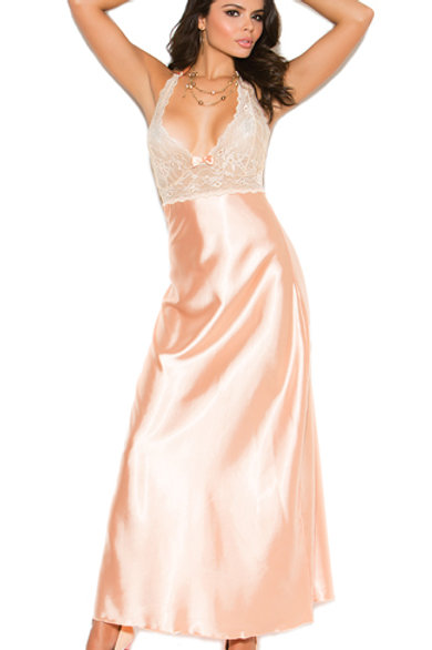 Long Peach Sangria Gown