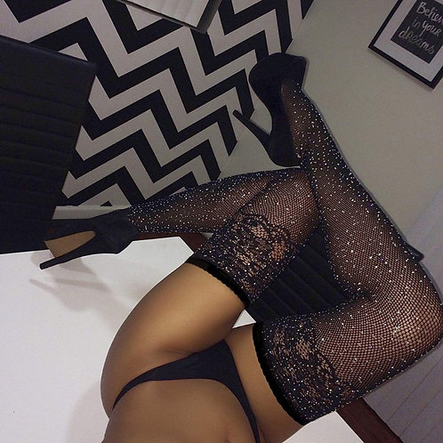 Lace Top Crystal Stockings