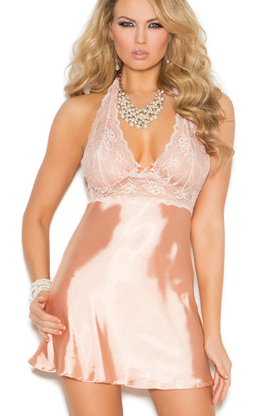 Peach Sangria Lace Babydoll Set