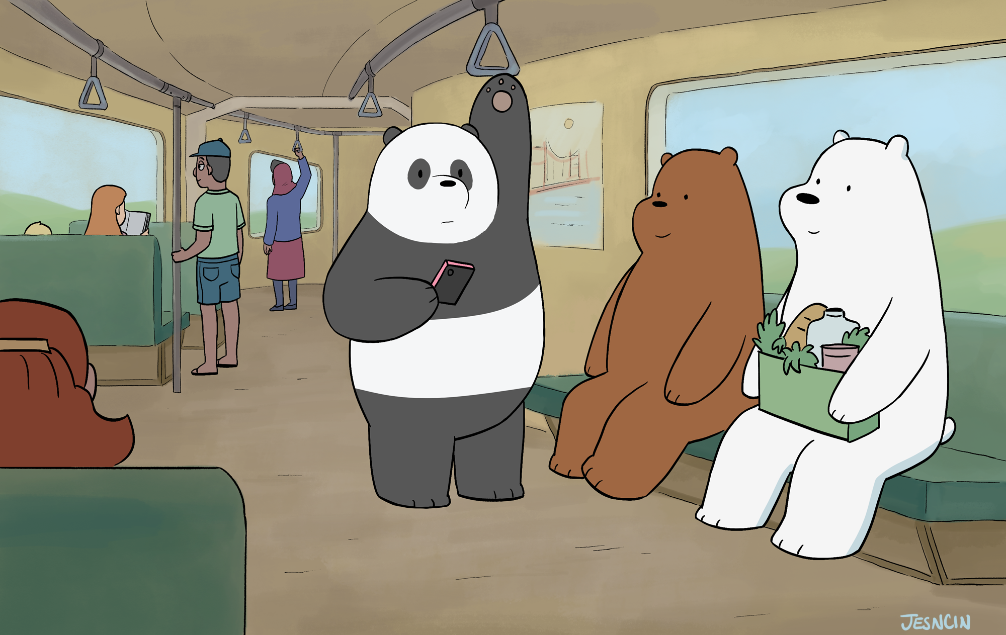 Bears travel by Train
