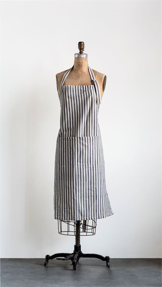 Grey Striped Apron, $18