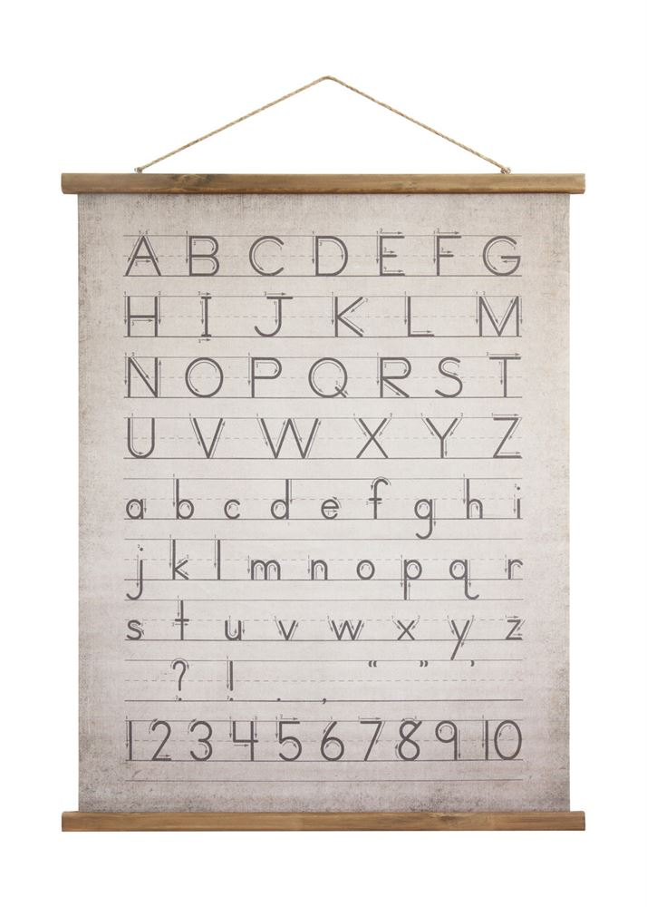 Alphabet Canvas Scroll, $30