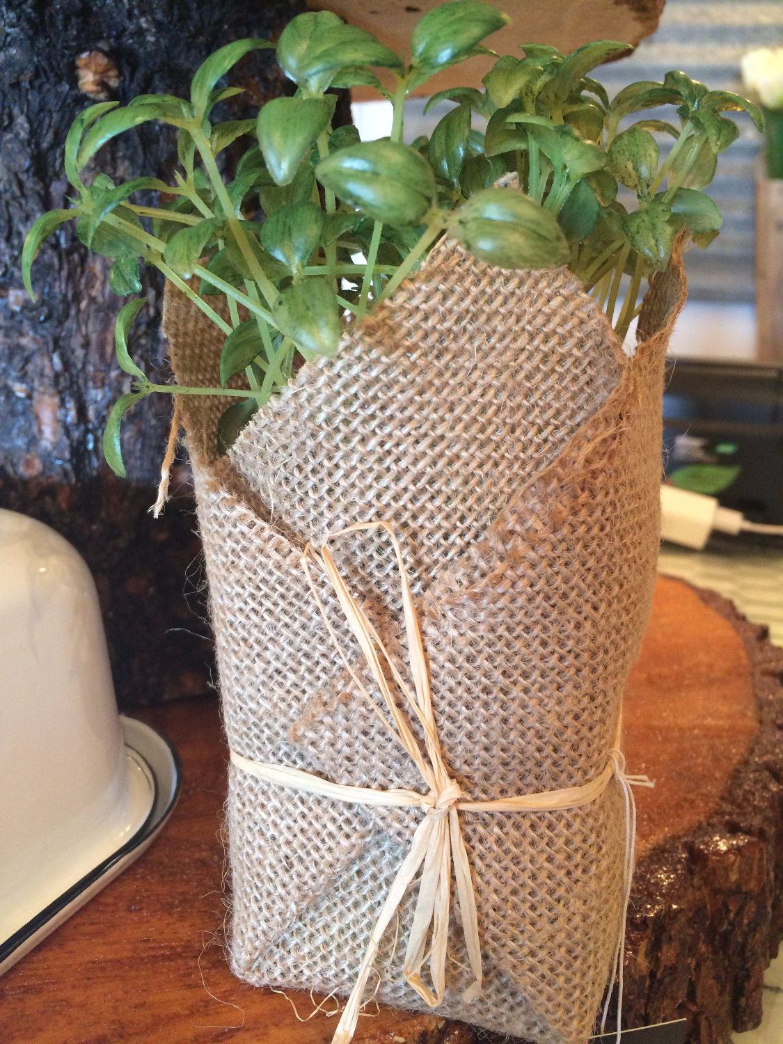 Artificial Herb in Burlap $7.00