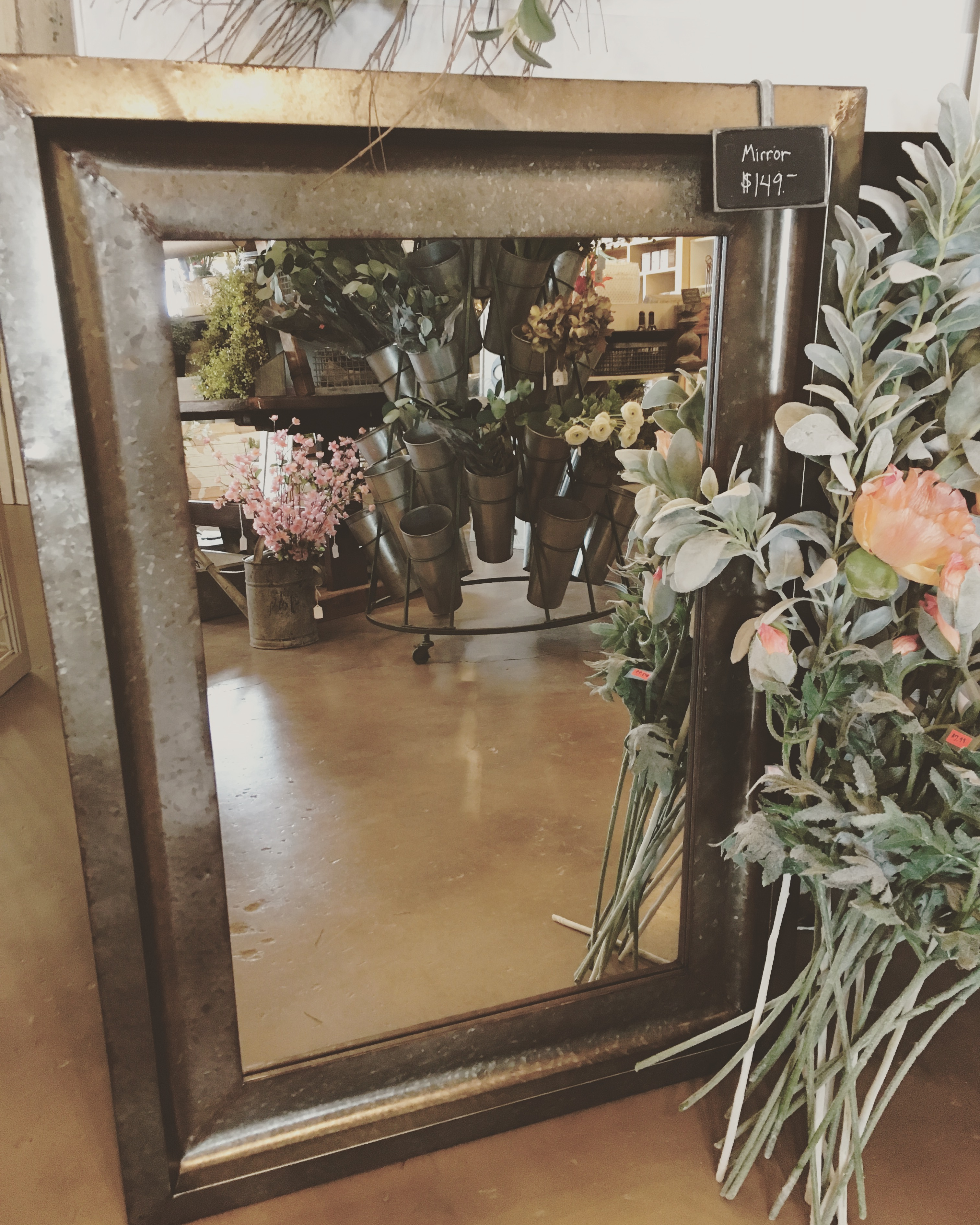 Tin Framed Mirror, $149.00