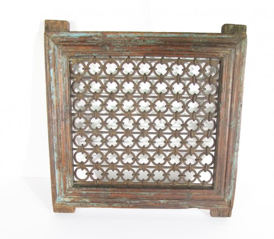 Iron Window with Wood Frame, $110
