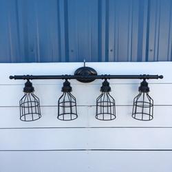 Black 4-Light Cage Vanity, $159