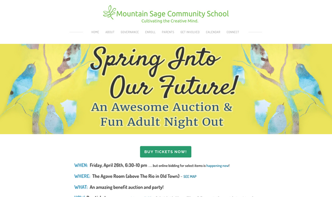 Mountain Sage Community School Auction Page