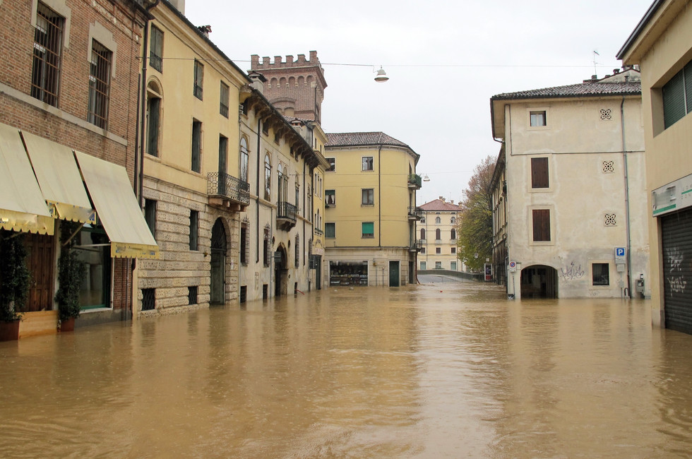roads and streets of the city submerged