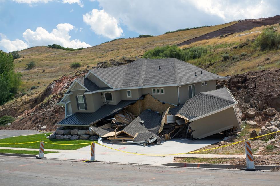 Destruction of a new home in a landslide