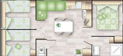 plan intérieur du Mobil Home