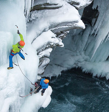 """Gordon Mcarthur climbing a route named """"The Golden Bull"""" M10, located in the Bull River, outside of Cranbrook BC"""