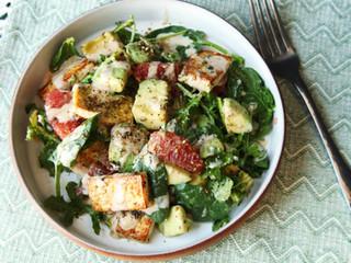 Tofu and Kale Salad With Avocado, Grapefruit, and Miso-Tahini Dressing