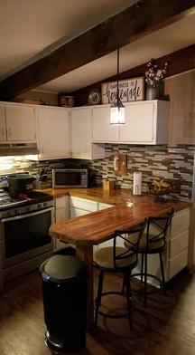 butcher block countertop and kitchen rem