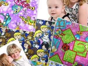 Cotton fabrics with children's motifs