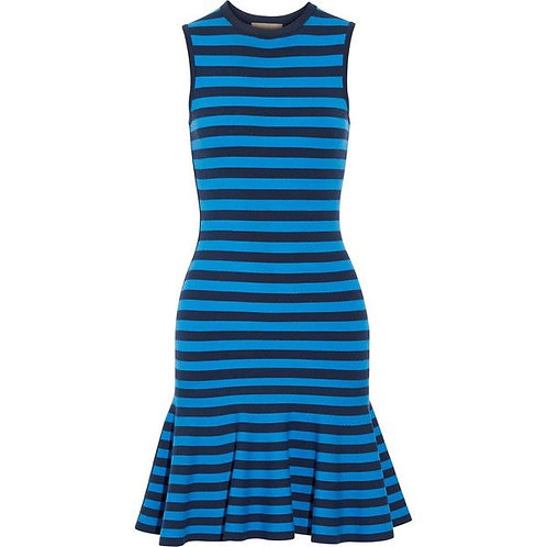 Michael Kors Collection Blue Striped Body Con Flare Dress size S
