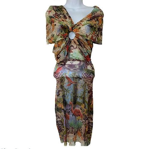 Jean Paul Gaultier Vintage Mesh Flamingo Tropical Print Mesh Dress size Small