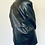 Thumbnail: Vintage black genuine leather oversized black trench coat