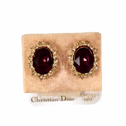 Christian Dior vintage 14k gold post jewel purple crystal earrings