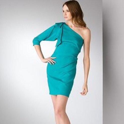 Diane Von Furstenberg teal one shoulder dress 0