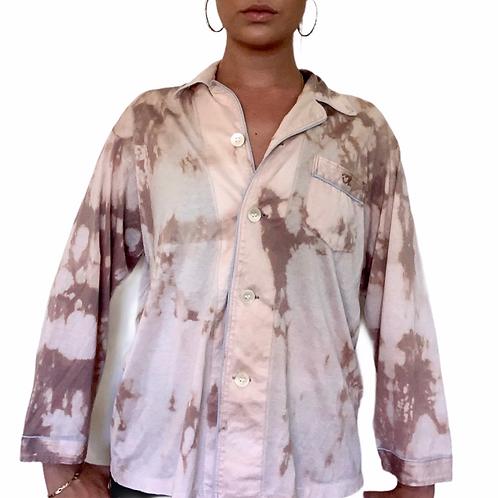 Vintage custom upcycled bleach died Oscar De La Renta button down sleep shirt