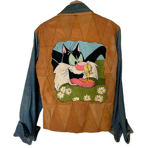 70s Antonio Guiseppe Looney Tunes Jacket w/ Sylvester& Tweety Embroidery Vintage