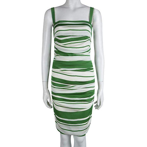 Dolce & Gabbana Green and White Striped Ruched Mini Dress size 2