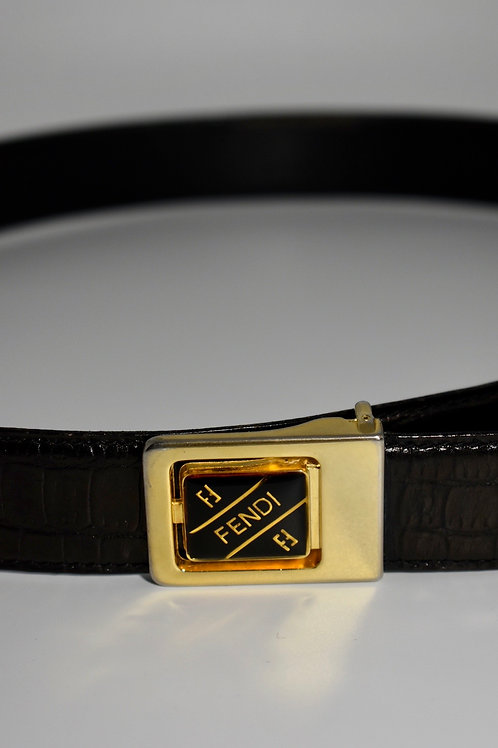 Fendi Black Vintage leather snake pattern belt with gold hardware
