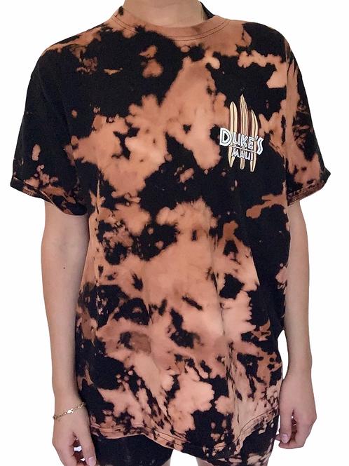 Duke's Maui custom graphic surfboard t-shirt bleach dyed black and orange marble