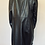 Thumbnail: Vintage Black 100% Genuine Leather oversized buttoned womens trench coat