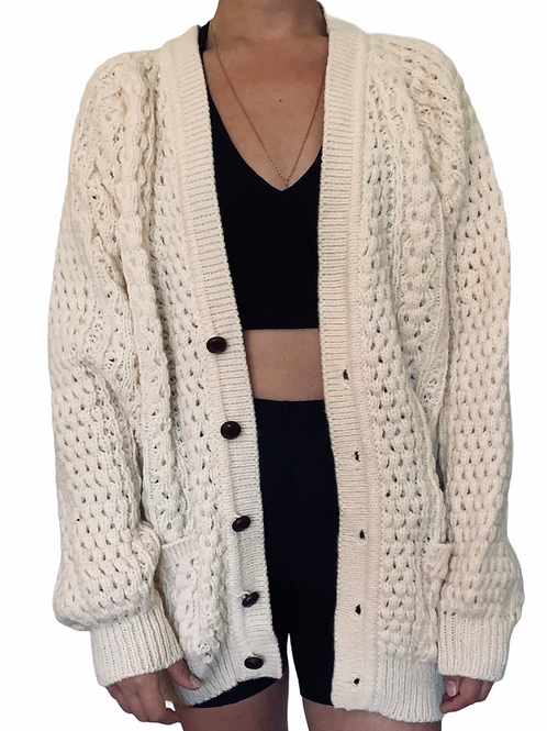 Vintage 100% Wool Oversized Cardigan