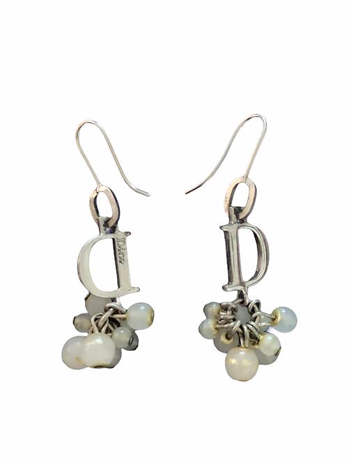 Dior D D Dangle silver earrings