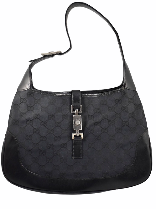"Gucci vintage black GG canvas and leather ""Jackie O"" iconic bag"