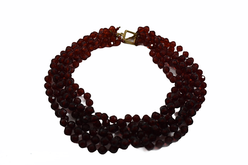 Vintage red beaded necklace with gold clasp
