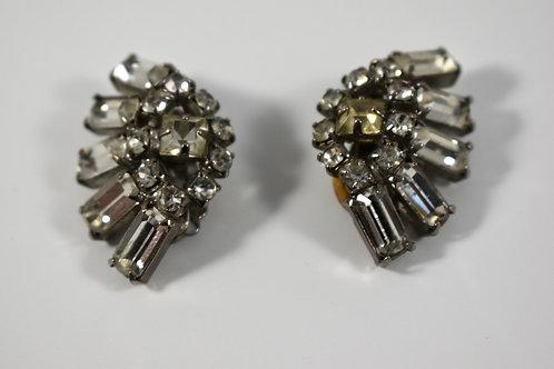 Vintage crystal clip on art deco earrings