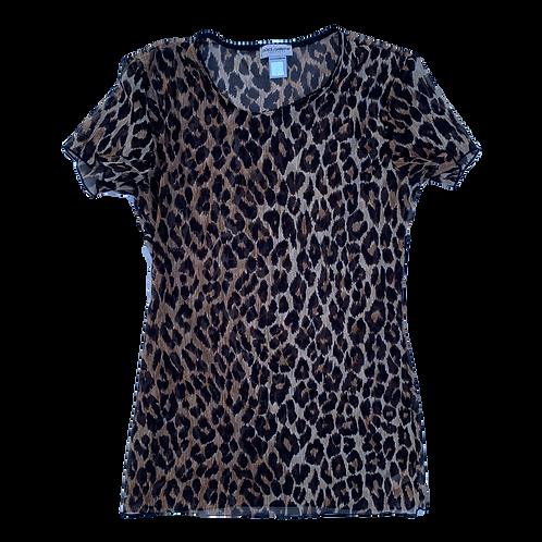 Dolce & Gabbana Leopard Cheetah Mesh See-Through T-Shirt size Small
