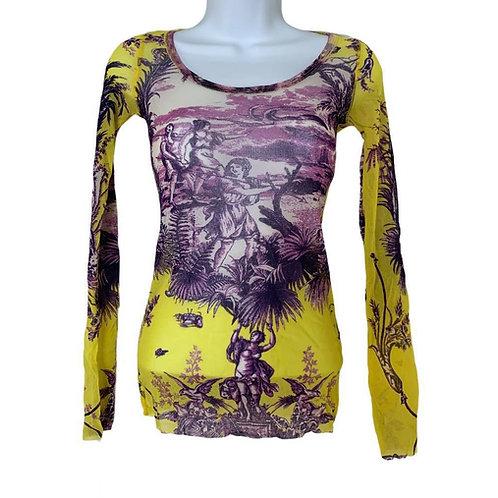 Jean Paul Gaultier Baroque Mesh Long Sleeve Yellow Purple Women Print