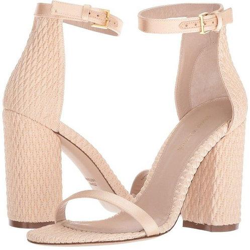 Stuart Weitzman Women's Nuquilt Satin High Block Heel Sandals Size 10